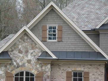 natural wood shutters on stone siding wood stone mixes