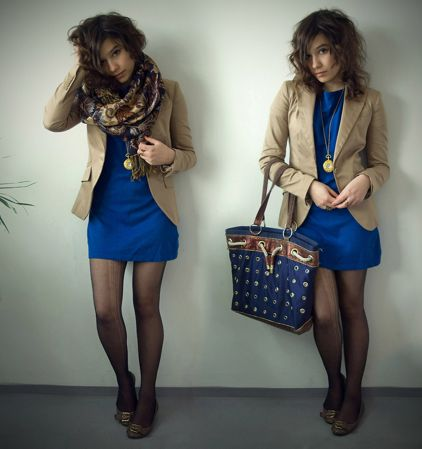 Beige jacket with blue dress | Ways to wear a beige jacket ...