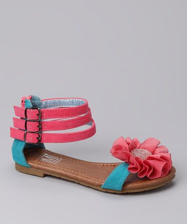 Take a look at this Turquoise & Pink Marie 71 Sandal by MAKERS SHOES on #zulily today!
