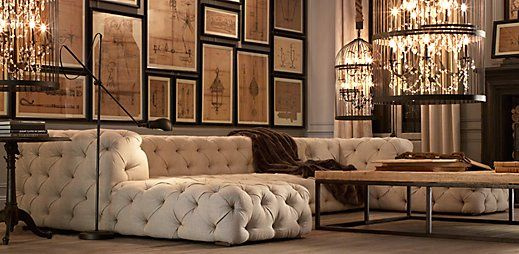 Restoration Hardware is my new, favorite place for furniture and decor.  Dramatic, yet soft and liveable pieces.  The look is deconstructed elegance and sophistication.