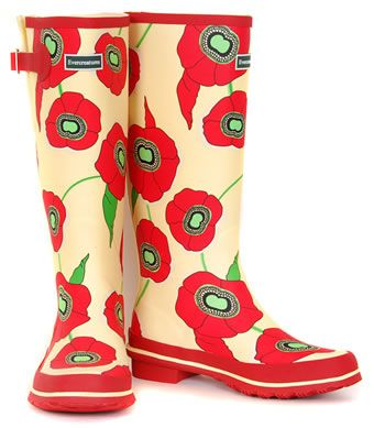 wellies in poppies...for walking in the rain
