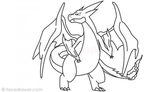 How To Draw Mega Charizard Y From Pokemon X Y Step By Step Mega