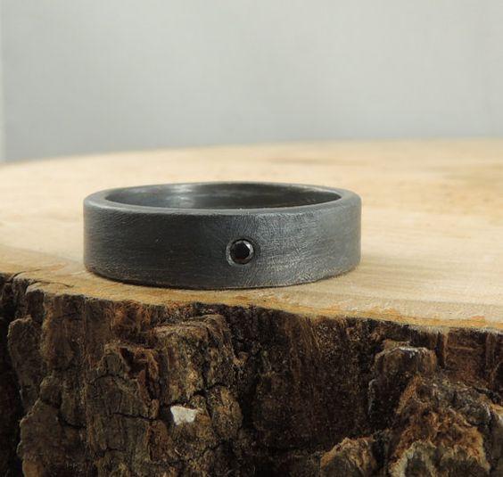 Black Diamond Mens Eheringe, Herren Ehering, Mens Ring, Handmade, einfache Mens-Band