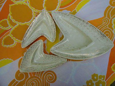 VTG 1950s MID Century Modern Shawnee Boomerange Atomic Pottery Ashtrays 3ct