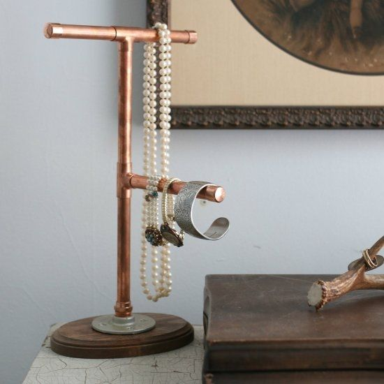 Pipes and fittings pipes and jewelry stand on pinterest for Copper pipe jewelry stand