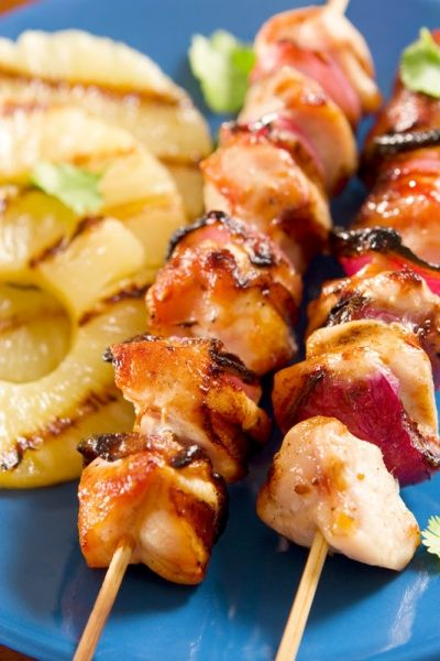 Pineapple Chicken kebabs...perfect summer dish on the grill, along with grilled pineapple. For our next bbq!