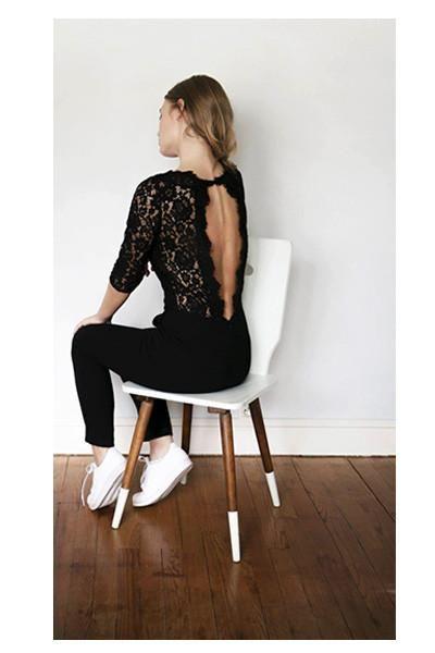 Jolie combi pantalon fluide et chic dos nu en dentelle - Quelles chaussures avec une combinaison noire ...