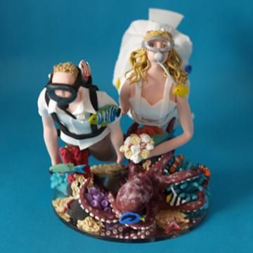 Scuba Diving Bride And Groom Personalised Handmade Wedding Cake Topper