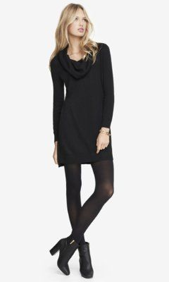 COWL NECK SWEATER DRESS - BLACK from EXPRESS