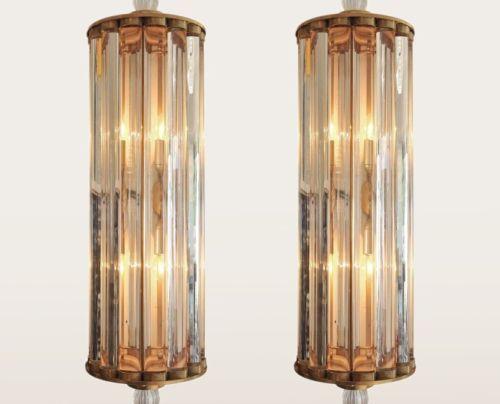 Vintage Old Antique Art Deco Brass /& Glass Rod Light Fixture Wall Sconces Lamp