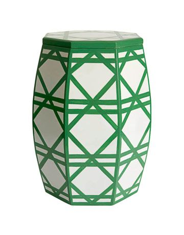 Perfect Place to Put Your Mojito! Leave this cheerful garden stool out next to your hammock in the backyard. Geometric Cane Pattern Garden Stool $220    #hammocking, #gardenstool