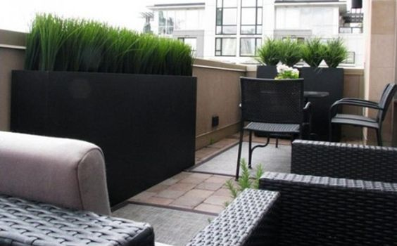 Grass planters on roof terrace