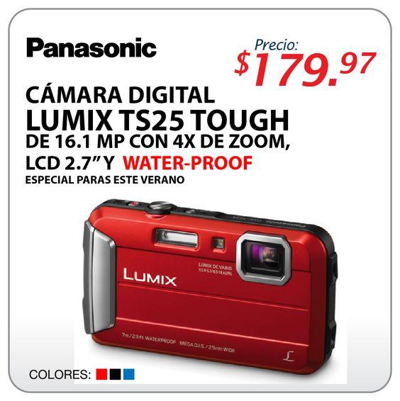 """Cámara digital Panasonic LUMIX TS25 TOUGH 16.01MP con 4x ZOON LCD2.7"""" Y WATER-PROOF. Especial para este verano, ingresa a nuestra pagina www.multimax.net"""
