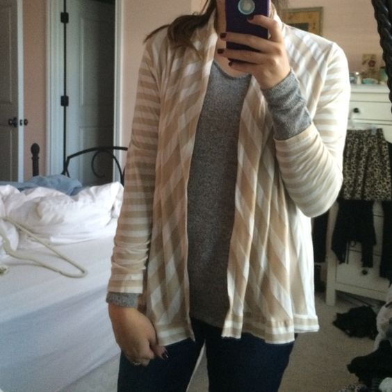 Beige & white striped open cardigan Brand from Marshalls. In great condition! Fenn Wright Manson Sweaters