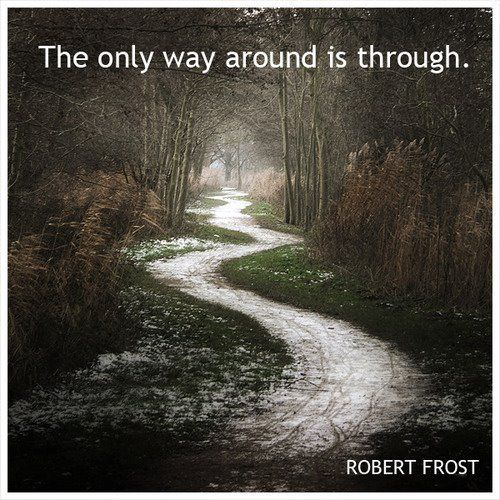 Finding your way through grief. I had a retired minister to tell me this at the very beginning of my grief. You can't get around it, you have to go through it!: