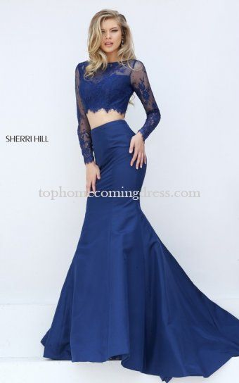 Sherri Hill 50491 Navy Lace Two Piece Mermaid Prom Dress