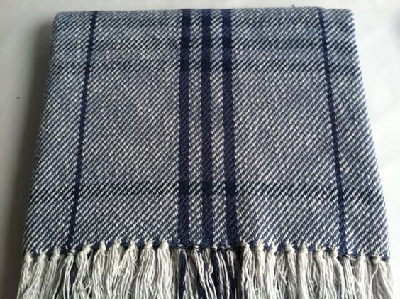 Cotton Woven Blanket Classic Blue And Navy By