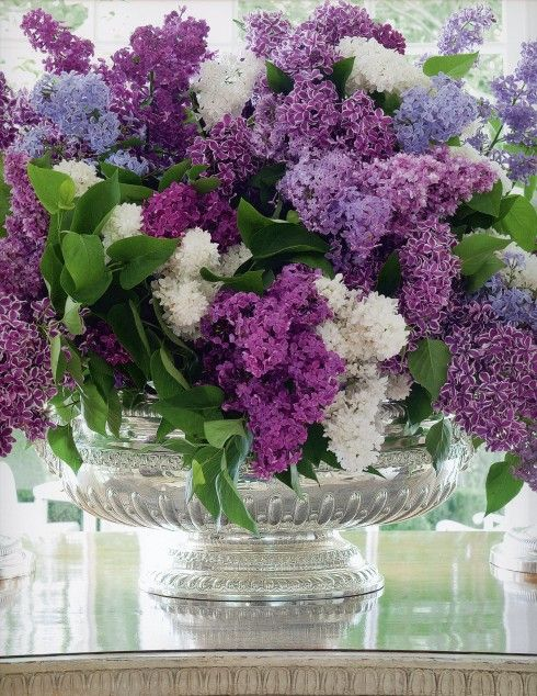 A Centerpiece Of Gorgeous Lilacs By Carolyne Roehm