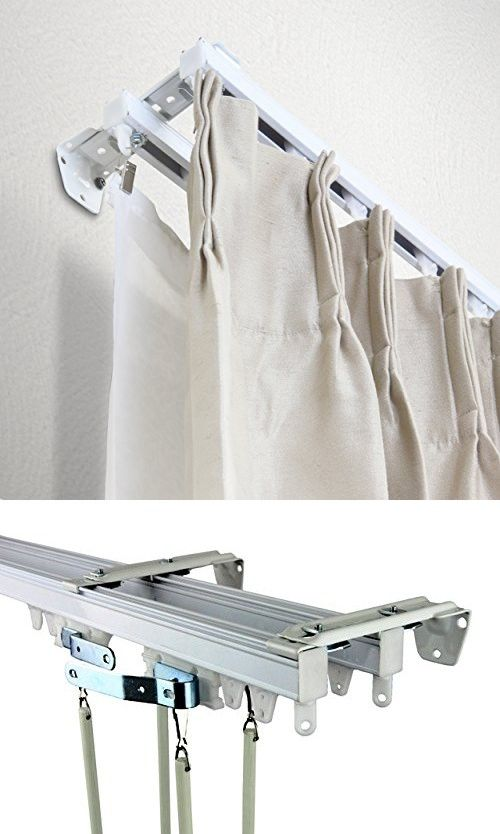 A F Rod Decor White Double Curtain Track Room Divider Kit 12 Ft