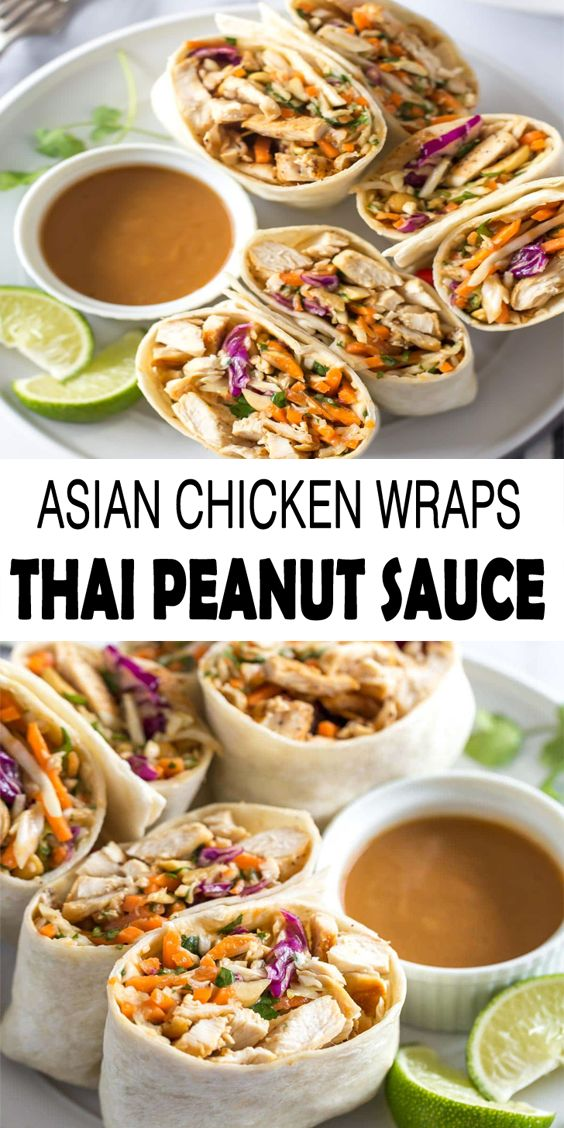 Asian Chicken Wrap with Peanut Sauce Recipe