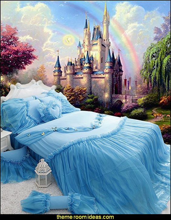 Castles and rainbow wall mural cinderella princess bedding for Cinderella wall mural
