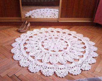Gehaakte tapijt. 44 in. Baby deken - ronde lace woonkamer Vloermatten. Gift van de verjaardag cadeau bruiloft, gebied tapijt