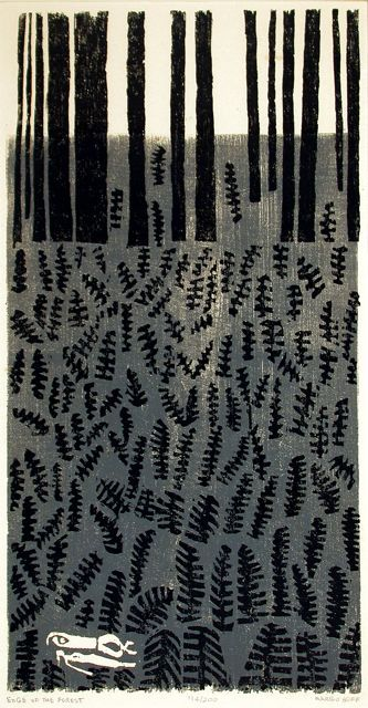 Margo Hoff, Edge of the Forest, 1956 woodcut  http://travex.syr.edu/images/exhibition_slides/american_woodblock_slides/Pages/3.html