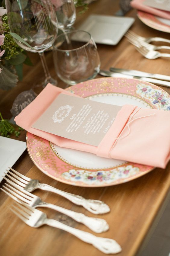 Pink wedding table placement.