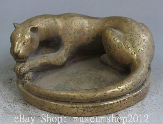 "7"" China Chinese Brass Leopard Panther Statue Animal Ashtray Tobacco Jar | eBay"