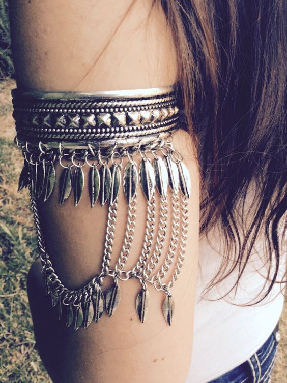 """Boho Cuff available in antique silver, and antique gold Diameter 3"""" Open back Arrives in a lovely eco-friendly drawstring gift bag"""