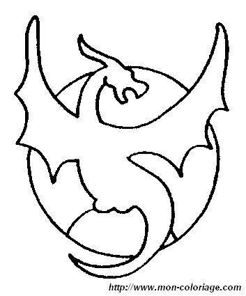 Ausmalbild drache 14 malen pinterest drache - Dessin dragon simple ...