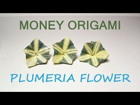 Money Plumeria Origami Flower Dollar Tutorial Diy Folded No Glue Youtube Origami Money Flowers Dollar Bill Origami Money Origami