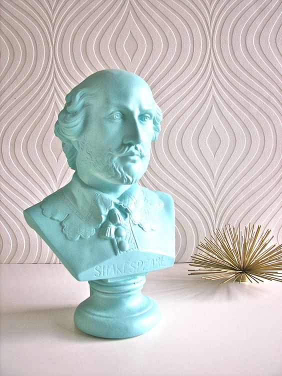 Shakespeare Bust Statue in Bahama Blue