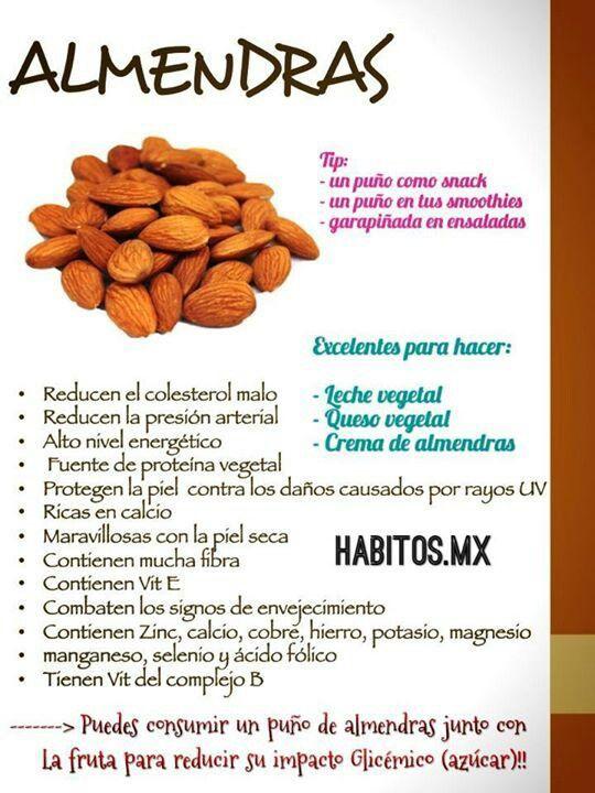Beneficios y propiedades de las almendras - Infografías y Remedios. #almendras #infografía #infographic #nutrición: