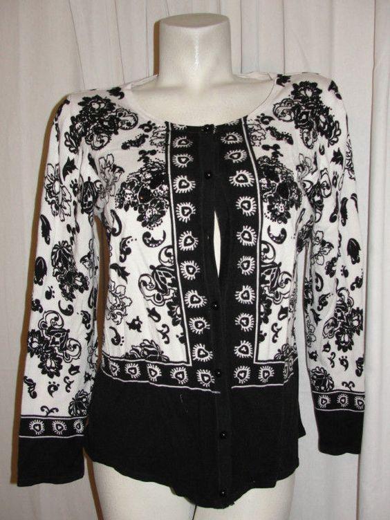 Prima Bella Size XL Black White Sequined Gemmed Embellished LS Cardigan Sweater #PrimaBella #Cardigan