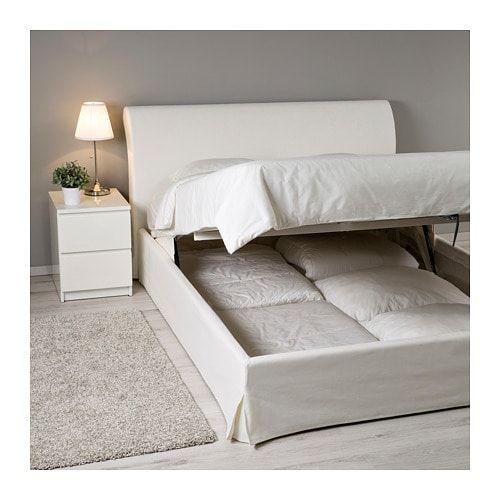 Rete Materasso Matrimoniale Ikea.Vandve Struttura Letto Con Contenitore Blekinge Bianco 160x200