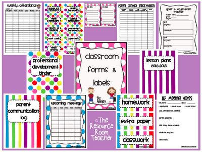 Classroom Forms & Labels - Great way to start organizing!