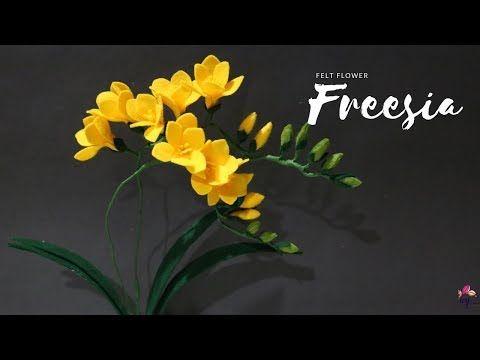 How To Make Felt Flower Freesia Bunga Freesia Dari Kain Flanel Youtube Felt Flowers Felt Flowers Diy Felt Flowers Patterns