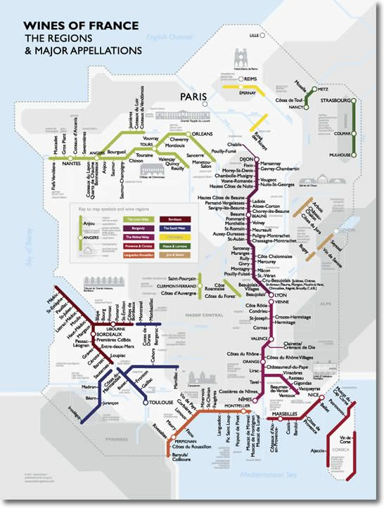 The major wine regions of France and their appellations shown clearly in their relative positions  Major grape varieties shown in context with their corresponding appellations  Major geographical features and architectural landmarks indicated