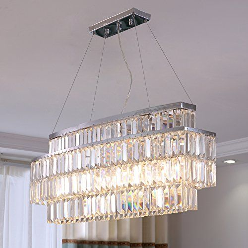 Moooni Modern Oval Rectangular Crystal Chandelier Ceiling Lighting