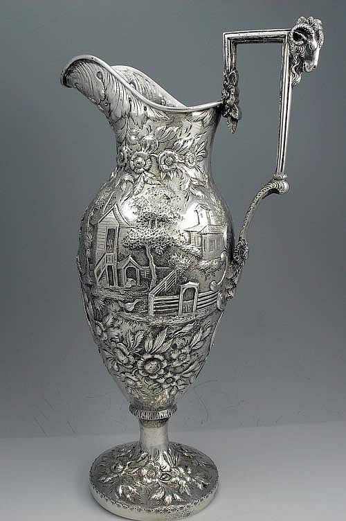 Early Kirk 17 inch Antique Coin Silver Landscape Ewer