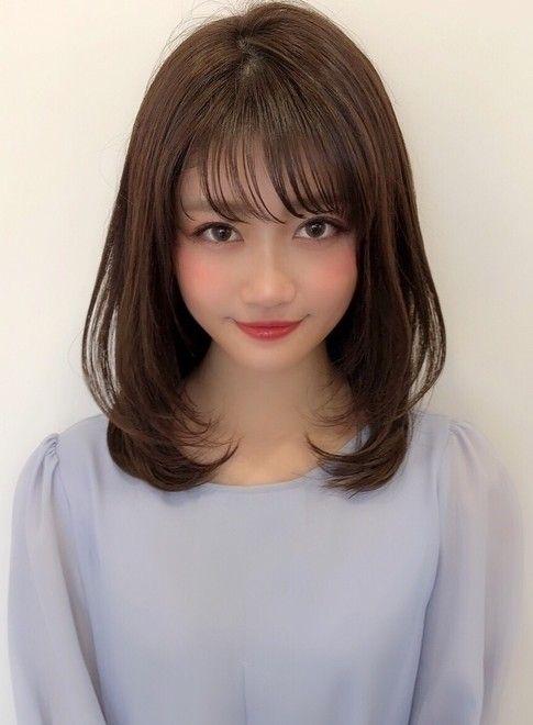 大人可愛い ひし形内巻きレイヤー 髪型ミディアム ビューティーナビ