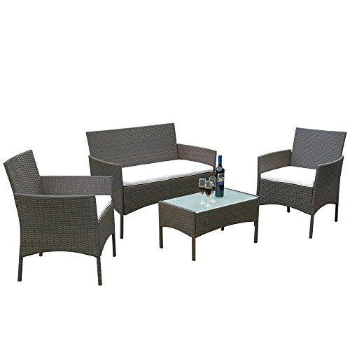 Rattan Garden Patio Conservatory Furniture Sofa Set 4 Piece Outdoor Chairs Table