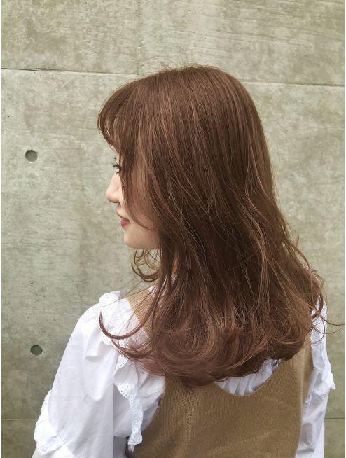 プランタン フォー ヘアー Printemps For Hair オレンジベージュ 外国人風カール 髪色 オレンジ オレンジ ヘアカラー ミディアム ヘアカラー