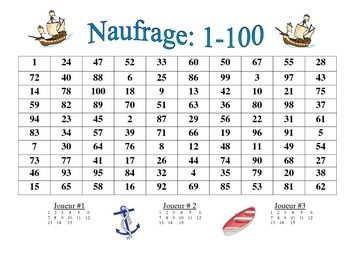 Common Worksheets squares from 1 to 100 : French Numbers 1-100 Activity (Naufrage) | Colors, Student and French