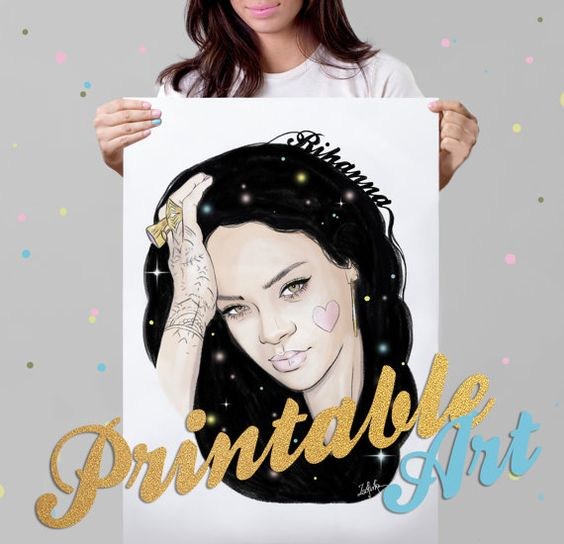 Rihanna portrait pop art print / poster printable / portrait art / digital art portrait / singer / portrait printable / wall art decor ideas  ♥