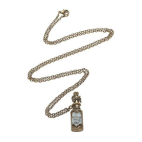 Antique Wish Bottle Necklace | Hot Topic ($6.80) ❤ liked on Polyvore featuring jewelry, necklaces, antique jewelry, antique jewellery, antique gold necklace, antique necklaces and antique gold jewellery