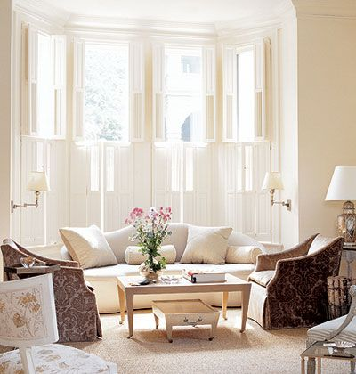 Dressing Bay Windows With Shutters For The Home Pinterest Window Living Rooms And