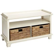 Holtom Antique White Storage Bench with Baskets