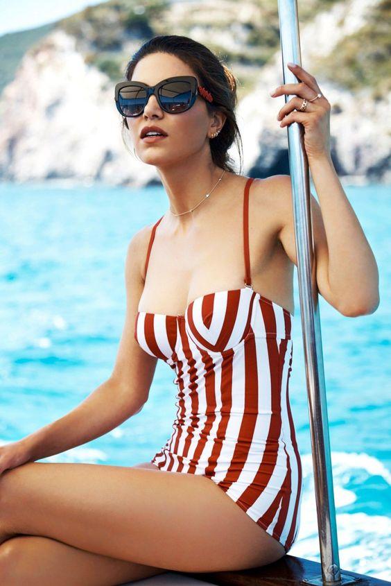 Negin Mirsalehi in a retro bathing suit look by Dolce & Gabbana.